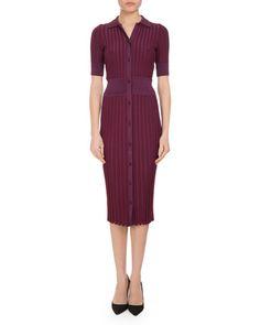 Altuzarra Olivia Short-Sleeve Knit Polo Dress, Pink