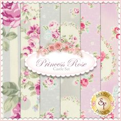 Princess Rose 6 FQ Set - Castle Set by Lecien Fabrics: Princess Rose is a floral collection by Lecien Fabrics. 100% Cotton. This set contains 6 fat quarters, each measuring approximately 18 x 21.