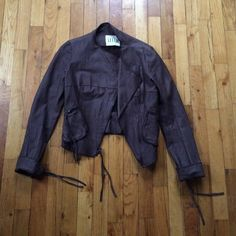 illia brown leather jacket Condition like new! Brown 100% leather jacket with tassels on zippers and pockets Illia Jackets & Coats