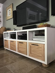 Building a custom piece of furniture may seem daunting but this DIY design from The Happy Homebodies makes it simple. The beauty of this media cabinet - besides the ample storage - is that it's completely customizable to fit your room's style. Click to get all the design details and materials.
