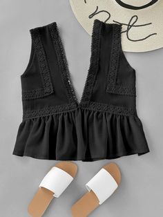 Shop Plunging V-neckline Lace Trim Frill Hem Top online. SheIn offers Plunging V… Shop Plunging V-neckline Lace Trim Frill Hem Top online. SheIn offers Plunging V-neckline Lace Trim Frill Hem Top & more to fit your fashionable needs. Casual Outfits, Cute Outfits, Fashion Outfits, Fashion Ideas, Fashion Fashion, Fashion Women, Vintage Fashion, Men Casual, Outfit Elegantes