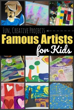 Famous Artists for Kids - lots of fun projects and crafts for kids to explore projects like van gogh, oney, matisse, polluck, etc. Plus we have a free famous artist report form; the tempalte works with any artist. Kindergarten Art, Preschool Art, Famous Artists For Kids, Fall Art Projects, Art Education Projects, Starry Night Art, Bubble Painting, Artist Project, Art Lessons For Kids