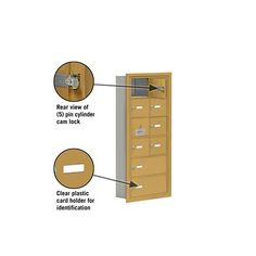 "Salsbury Industries 6 Tier 2 Wide Recessed Mounted Locker Size: 35.25"" H x 16.25"" W x 5.75"" D, Color: Gold"