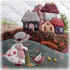 """Best 12 """"Legal Ideas for Patchwork"""" – Gold Needle Atelier – SkillOfKing. Crazy Quilting, Crazy Patchwork, Wool Applique Patterns, Applique Quilts, Applique Designs, Mini Quilts, Baby Quilts, House Quilt Patterns, House Quilts"""