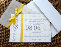 The double layered Polka Dot Wedding Invitation. The bright colors and playful look of this invite will definitely be remembered by all of your guest. This invitation like all of our invitations, can be customized to fit your unique color palette. oordinating folded or flat thank you cards, RSVP cards, reception card, dinner menus, favor tags, save the date cards, are also available in this style. This design can be incorporated onto all of your party stationary if desired.