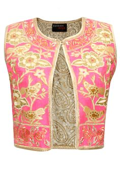 Pink and beige thread embroidered jacket by Surabhi Arya. Shop at: http://www.perniaspopupshop.com/designers/surabhi-arya #jacket #surabhiarya #shopnow #perniaspopupshop