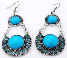 Beautiful Tibetan Silver and Aqua   Crystal Dangle Earrings  Free Shipping