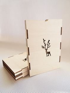Christmas card. lasercut  packaged in plywood case