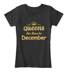Queens Are Born In December T Shirts Black Women's T-Shirt Front