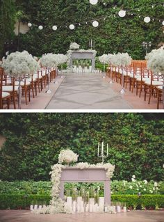 Outdoor fireplace mantel decor as wedding alter