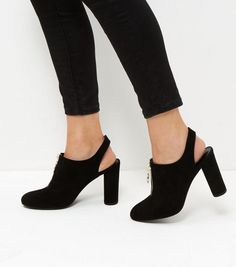 Black Suedette Zip Front Sling Back Court Shoes | New Look