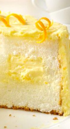 Orange Cream Angel Food Cake ~ Transform boxed angel food cake mix into a mouthwatering masterpiece with creamy orange filling and frosting.