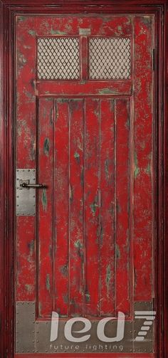 Do something like this for Jeff's office door. Industrial Farmhouse, Vintage Industrial, Old Doors, Windows And Doors, Loft Door, Industrial Office Design, Stencils, Loft House, Distressed Painting