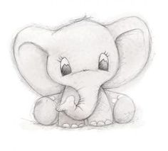 Cute Elephant by Clare Thompson - .-Niedlicher Elefant von Clare Thompson – Cute elephant by Clare Thompson – – - Pencil Sketch Drawing, Pencil Art Drawings, Cool Art Drawings, Drawing Base, Drawing Drawing, Drawing Tips, Fun Easy Drawings, Dumbo Drawing, Cute Drawings Tumblr
