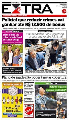 25-04-2013 - Capas do Jornal Extra - Primeira página do Jornal Extra do Rio - Extra Online