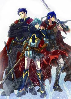 Fire Emblem fan art- Hector, Ike, Ephraim<----I love Ephraim he got good growths and never fails me XD
