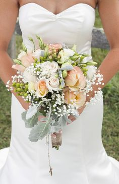 Colors, style-roses, lisianthis, berries, dusty miller  Peach and mint colors  Image by:  Melissa Rena Photography  Note: bridal bouquet and bridesmaids would be a smaller version. Hand tied garden arrangement.