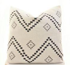 Peter Dunham Textiles Taj Pillow Cover, Onyx, Ash, Linen, Black, Natural, Gray, Linen, Geometric, Pattern, Lumbar
