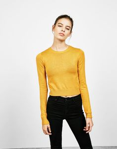 Jersey viscose cropped - Sweaters - Bershka Portugal
