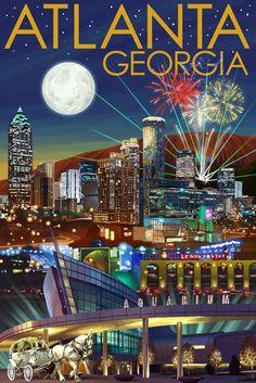 Print (Atlanta, Georgia - Skyline at Night - Lantern Press Artwork)