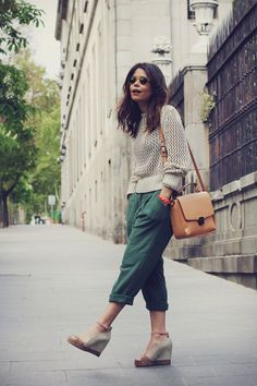 Open Knit Loose Trousers Wedges