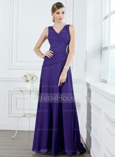 Bridesmaid Dresses - $122.99 - A-Line/Princess V-neck Floor-Length Chiffon Bridesmaid Dress With Ruffle Beading (007001053) http://jenjenhouse.com/A-Line-Princess-V-Neck-Floor-Length-Chiffon-Bridesmaid-Dress-With-Ruffle-Beading-007001053-g1053?ver=1