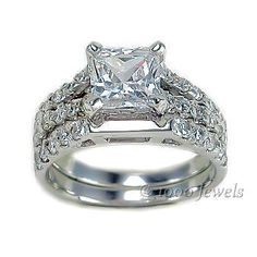 Elena 33ct Princess Cut Ice On Fire Diamond CZ Wedding Ring Set