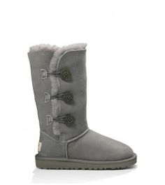 Ugg Australia Girls-Big Kids Bailey Button Triplet Gray Winter Boots 6 M US -- Check this awesome product by going to the link at the image. Grey Uggs, Grey Boots, Kids Ugg Boots, Uggs For Cheap, Sheepskin Boots, Cool Boots, Bearpaw Boots, Ugg Shoes, Bootie Boots