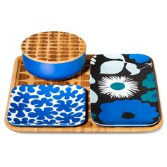 Bamboo Serving Set 4 Piece - Blue - Marimekko for Target Inexpensive Home Decor, Cute Home Decor, Cheap Home Decor, Deco Table, A Table, Gadgets, Marimekko, Serving Dishes, Home Collections