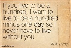 A.A. Milne: If you live to be a hundred, I want to live to be a hundred minus one day so I never have to live without you. live, friendship, day. Meetville Quotes