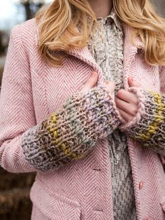 free knitting patterns for charity: fingerless glove downloadable pattern at LoveKnitting