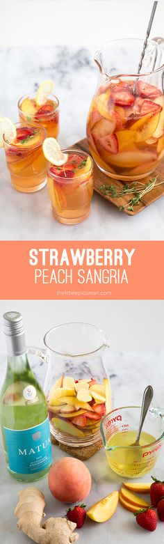 I love rich dark red, robust sangrias. The ones filled to brim with sliced oranges and apples loaded with brandy and spices.  I reserve that sangria for autumn and winter. This strawberry peach sangria I'm sharing today is far from the traditional Spanish sangria. This is another one of my fun and refreshing summer sangria …