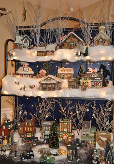 Pinner says: I have turned my Bakers Rack into a Christmas Village. Christmas Village Display, Christmas Town, Christmas Scenes, Christmas Villages, Merry Little Christmas, Vintage Christmas, Christmas Holidays, Holiday Fun, Holiday Decor