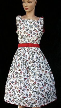 Vintage 50s 1950s Floral Pinup Summer Sleeveless by mom24kids, $60.00