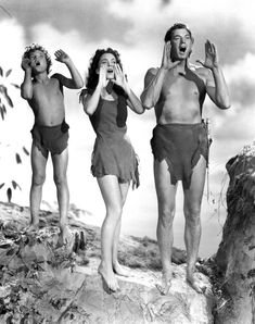 Johnny Weissmuller, Brenda Joyce and Johnny Sheffield