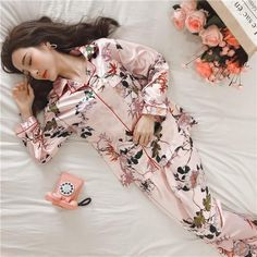 Details about  /Floral Embroidery Tricot Pajama Set