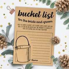 Bridal Bucket List Game, Bridal Shower Games Printables, Bridal Shower Game Idea, Bridal Shower Instant Download, Wedding Game, Kraft Paper