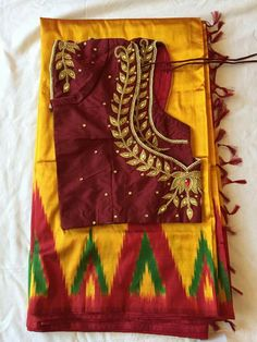 Ikkat saree with embroidered blouse Half Saree Designs, Simple Blouse Designs, Kurti Neck Designs, Bridal Blouse Designs, Saree Blouse Designs, Bead Embroidery Patterns, Embroidery Works, Hand Embroidery Designs, Designer Blouse Patterns
