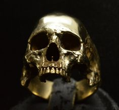 Into The Fire Jewelry  Skull ring Brass Large size half jaw