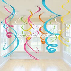 Decorations Multi Coloured Hanging Swirls