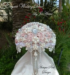 Antique Pink Brooch Bouquet – Glam Bouquet $450.00