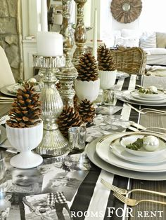 ~rooms FOR rent~: Holiday Entertaining.  Wonderful idea using black and white family photos for table!