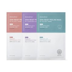 innisfree Skin Reset Peeling Mask Features Dry Skin: deep moisturizing milk essence tends the skin with AHA, madecassoside, and ceramide. Combination Skin: balanced and elastic gel essence tends the Aha Peel, Mask Korean, Mask For Dry Skin, Acai Berry, Exfoliant, Pores, The Face Shop, Innisfree, Combination Skin