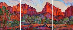 Zion National Park large triptych oil painting for sale, by Erin Hanson