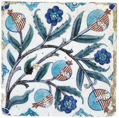 An Iznik pottery tile ottoman turkey, ca. Slab Pottery, Ceramic Pottery, Pottery Art, Ceramic Vase, Turkish Tiles, Turkish Art, Portuguese Tiles, Moroccan Tiles, Moroccan Decor