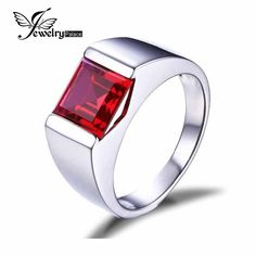 Classics 3.4ct Pigeon Blood Ruby Ring For Men Solid 925 Sterling Silver Fashion Accessories Charm Hot Sale Gift Vintage Jewelry