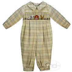 c30ae2749 Zuccini Boys Smocked Farm Plaid Bubble from Madison-Drake Children's  Boutique