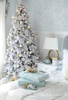Lillie's New Room Decorated for Christmas - Dear Lillie Studio Christmas Table Settings, Christmas Decorations, Holiday Decor, Christmas Ideas, Christmas Wreaths, Whimsical Christmas, French Christmas Decor, Coastal Christmas, Target Bedding