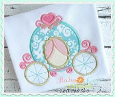 Princess Carriage Applique - This sweet design is perfect for any little Princess. The Princess Carriage features a heart on top and lots of fun curls.