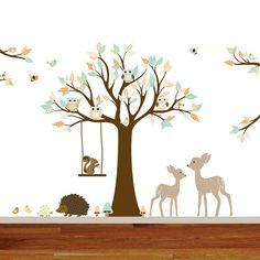 Vinyl Wall decal stickers swing tree set with,owls,birds,deer,woodland animals nursery wall decal